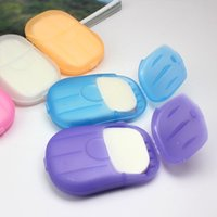 Wholesale New Travel Portable Health Care Soap Chip Clean Wash Hand Soap Paper Leaves With Mini Soap Dish Case