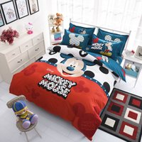 Wholesale 4PCS Mickey Mouse Bedding Set Bed Sheet Duvet Cover Pillow case Hello Kitty Bed Cover Bed Linen Bedding Supplies Home Textiles