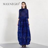 Wholesale Maxnegio Newest style women fashion muslim long sleeve maxi dress royal blue bridesmaid dress patterns