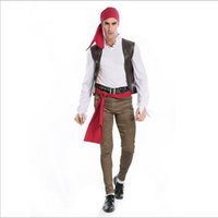 Wholesale Caribbean Performance Costumes - 2016 New Arrival Pirates Of The Caribbean Captain Jack Sparrow Cosplay Halloween Costumes Game Performance Clothing Hot Sale