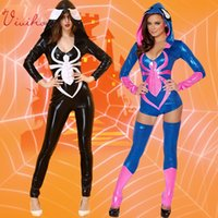 catsuits - Spiderman Hooded Jumpsuits Women Spider Seal Costumes Free Size Two Colours Sexy Tight Catsuits Halloween Party Cosplay Leggings Teddies