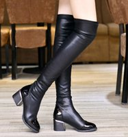 Wholesale Fashion PU Leather Over Knee Boots Women Sequined Toe Elastic Stretch Thick Heel High heels Thigh High Riding Boots Big Size Knight boots