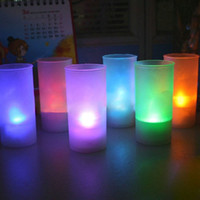 Wholesale Big Promotion Led Color Change Flickering Flameless Cup Light Tealight Candles Wedding Party Xmas Decoration Lamp