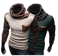 Wholesale New Korean Style Fashion Mens Spread Collar Pocket Patchwork Long Sleeve Sweater