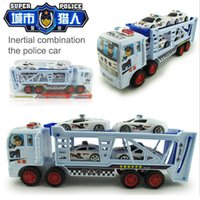 Wholesale Big size inertial double deck trailer car toy with four mini police cars children toys dhl