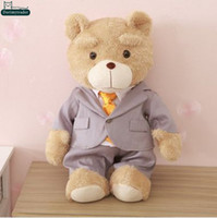 bear stuffing business - Dorimytrader cm Cartoon Ted Bear Large Stuffed Plush Soft Fashion Cool Business Suit Bears Toy Nice Baby Gift DY60991