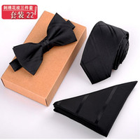 Wholesale Neckties bow tie Handkerchief Three sets with Box packaging colors stripe NeckTie For Men s Father s day Christmas gifts Free TNT Fedex