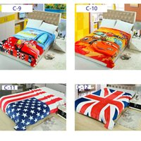 Wholesale New Arrival Winter Flannel Blankets Cartoon Characters National Flag Print Spader Man Avengers Superman Transformers cm