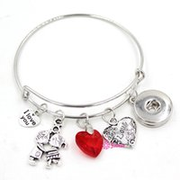 achat en gros de valentine accrochage charme-Metal interchangeable 18mm Snap Jewelry Valentine Je t'aime Bracelet coeur Bracelet ajustable ajustable ajustable Bracelet bijoux pour femme Bijoux
