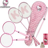 Wholesale new arrival lovely Hello kitty paternity suit badminton rackets have badminton for adult and kids