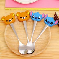 Wholesale Creative cute cartoon handle stainless steel spoon Fashion silicone coffee spoons stirring mini spoon porridge tablespoons Free DHL