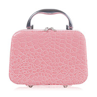 Wholesale PU Leather Cosmetic Makeup Box Case Toiletry Organizer Storage Handbag With Mirror Crocodile Pattern Lady Cosmetic Organizer Bags Colors