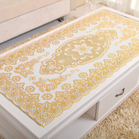 Wholesale PVC Nappe Table Cloth Plastic Oilproof Dining Tablecloth Bronzing Printed Table Cover Table Mat Overlay Placemat Nappe No clean