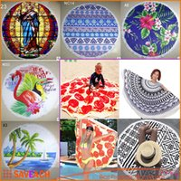 automatic towel - 22 Types Cotton Roud Bohemia Printed Tassel Knitted Beach Towel Toalla Playa Serviette De Plage Microfiber Towel g