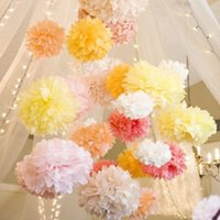 Wholesale 25cm Colorful Tissue Paper Flowers Ball Craft Paper Flowers Pom Poms for Christmas Wedding Party Birthday Decor Supplies