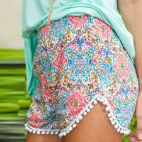 Wholesale 1Pcs New Style Summer Fashion Lady Women Shorts Sexy Elastic waistband Pants Printed Tassels Short Trousers