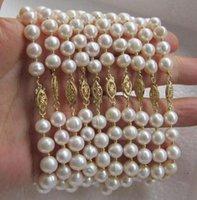 al por mayor 14k pulseras de perlas de oro al por mayor-AL POR MAYOR 10 PC 8-9MM AAA ++ BLANCO PULSERA DE LA PERLA DEL SUR DEL SUR 7.5 EN 14K GOLD CLASP
