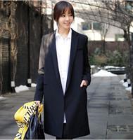 Wholesale 2016 Spring Fashion Casual Long Blazer Women Slim Suit Jacket Notched Collar Full Sleeve