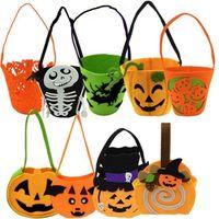 Wholesale Children Halloween Pumpkin Ghost Bags New style masquerade party decoration Pumpkin Halloween Candy Bag Non woven Gift Bags Kids Handbags
