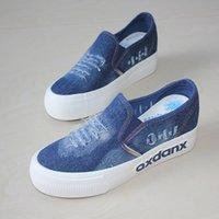 Cheap 2016 new slip on platform women canvas shoes woman ladies denim shoes breathable rubber sole nice casual shoes