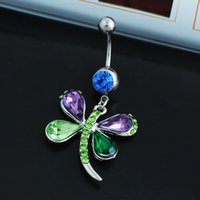 bell animal lover - crystal Colorful butterfly belly button rings belly piercing surgical steel belly button rings ring in navel bodyjewelry SK54
