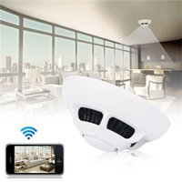 Wholesale 5pcs Free DHL Wireless P2P Wifi IP Camera Smoke Detector Hidden Camera Home Surveillance Security Camcorder for Smartphone Tablet