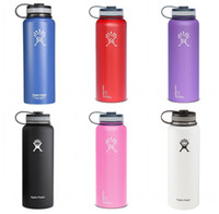 Wholesale Hydro Flask oz Vacuum Insulated Stainless Steel Water Bottle Wide Mouth Cap Sports Hydration Gear Cup travel water bottles Free Ship