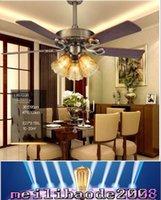 Wholesale Ceiling Fans inche LED110V V American European Vintage Ceiling Fans Lights for Restaurant Sitting Room Living Room CCC CE ROHS MYY
