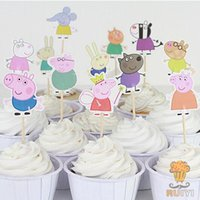 baking kids cakes - 48pcs papa pig toppers picks cupcake topper baby shower supplies child kids birthday party cake baking party decoration