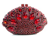 Wholesale Z16 red color fashion top crystal stones ring clutches bags for ladies nice party bag