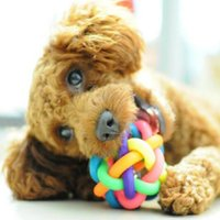Wholesale Dog Toys Rubber Ball Colorful Rainbow Ball Cat Toys Fun Playing Toy Pet Accessories Chihuahua Yorkshire Poodle Round Ball With Bells E