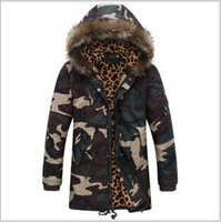 Wholesale New listing Winter new men quot s Slim fur collar camouflage coat long cotton camouflage pressure hooded Outerwear Coats