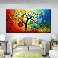 beautiful landscape paintings for sale - High Quality Beautiful Modern Abstract Landscape Tree Oil Painting On Canvas Home Wall Decorative Picture cheap for sale