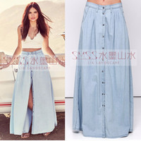 american apparel denim skirt - European and American Apparel fashion Leisure cotton Denim Long skirts Plus Size street Casual Womens Jeans Maxi Skirt