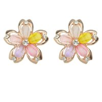 Wholesale Hot Sale Colorful Rhinestone Flower Shape Small Clip Earrings