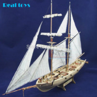 Wholesale Assembly Model kits Classical wooden sailing boat model Halcon1840 scale wooden model boat measurements