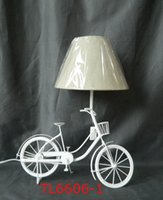 bicycle fixture - Europe Style Bike Bicycle E14 V W Fabric Lampshade Study Room Reading Lights Bedroom Beside Table Lamps Indoor Lighting Fixtures