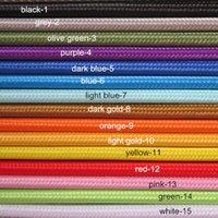 al por mayor tela de color marrón claro-Mayor-Libre del envío del estilo de la vendimia 3-núcleo del cable eléctrico - BROWN cubiertas de tela trenzadas Se enciende muchos colores