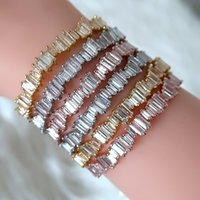 baguette bracelet - JaneKelly Fashion AAA cubic zirconia Man and Women Baguette bracelet bangle cuff copper base with gold plated thick bangle