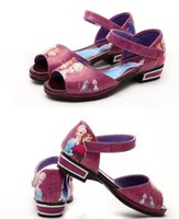 anna sandals - Frozen Children girl cartoon Sandals kids Elsa Anna Princess summer Leather dance Shoes pink blue red purple festive event gift
