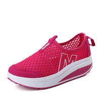 chaussures de hauteur d'expédition gratuite achat en gros de-Hauteur Augmenter Femmes Casual Mesh Shape-Ups Slip On Lace Up Walking Chaussures de sport Sneakers Y52 Swing Wedges Chaussures respirant Livraison gratuite