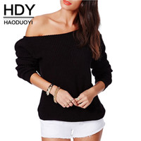 Wholesale HDY Haoduoyi Woman Fashion Colors Slash Neck Off Shoulder Full Sleeve Pullover Knitted Sweater