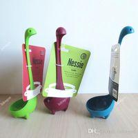 Wholesale Free DHL Nessie Ladle Vertical Long Handle Plastic Spoons Dinosaurios Loch Ness Monster Nessie Cucharas Largas Louche De Cuisine