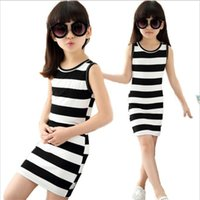 teen clothes - Children dressed in black clothes and white stripes Cotton years old vest dresses for teens