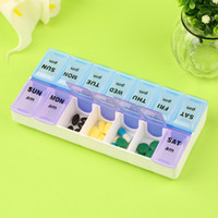 "7 Day Pill Box 8 cm /7.1""x 9 cm /3.5""x 3 cm/1.2"" opp bag Mini Plastic Pill Storage 7 Days 14 Compartments Detachable Pillbox Outdoor Travel Colorful Portable Medicine boxes pill Medical cases"
