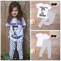 bieber baby - 2016 New Children Toddler Baby Girl Boy Clothes Bieber Tops T shirt Pants Outfits Set