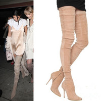 Wholesale Slim Fit Pointy Thigh High Boots Celebrity Fashion Long Boots Stretch Suede Elastic Boots Party Shoes