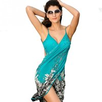 Wholesale 2016 Women Beach Dress Sexy sling beach wear dress sarong bikini cover ups wrap Pareo skirts towel Open Back swimwear