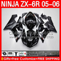 For Kawasaki kawasaki zx6r fairings - 8gifts ALL black Fairing Kit For KAWASAKI NINJA ZX R ZX636 ZX6R ZX ZX R HOT stock flat glossy black Bodywork