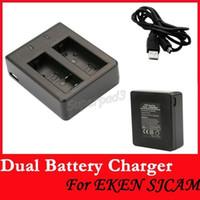 Wholesale 50pcs Original SJCAM SJ4000 SJ5000 M10 EKEN Series Double Slot Sport Action Camera Dual Battery Travel Charger Desktop Charger USB Cable